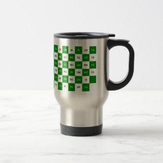 Dos palabras de la letra verdes y versión blanca taza térmica