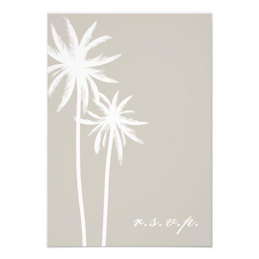 Dos palmeras blancas que casan RSVP Invitación Personalizada