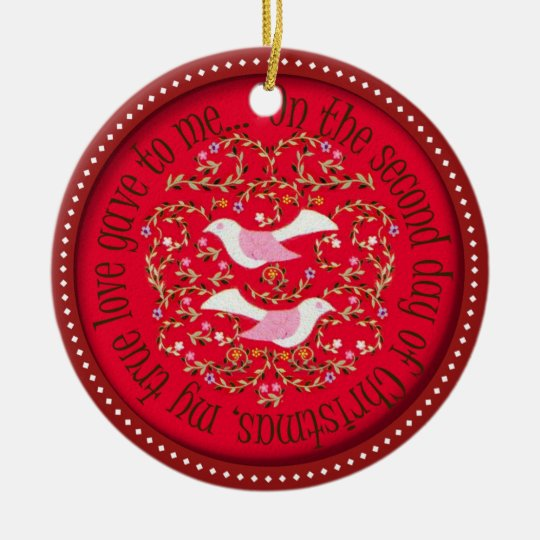 Dos palomas de la tortuga adorno navideño redondo de cerámica