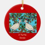 Dos palomas de la tortuga ornamentos para reyes magos