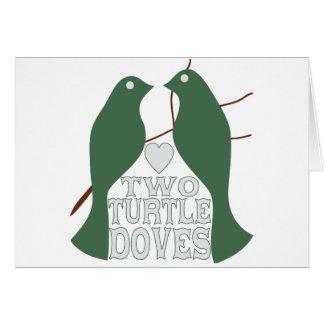 Dos palomas de la tortuga tarjetón