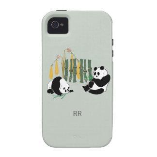 Dos pandas con el iPhone 4 4S del mango y del bamb iPhone 4/4S Carcasas