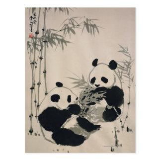 Dos pandas tarjeta postal