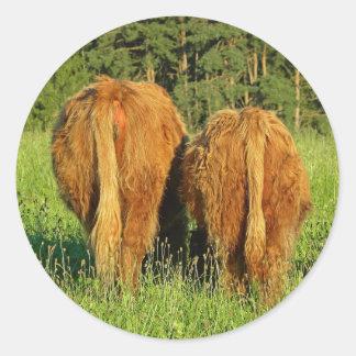 Dos partes posteriores del ganado de la montaña en pegatina redonda