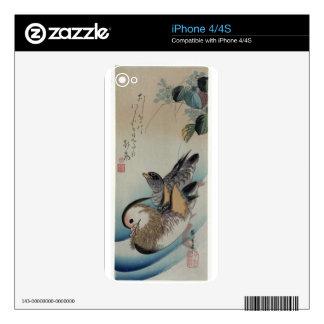 Dos patos de mandarín por Hiroshige iPhone 4S Calcomanía