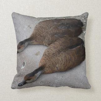 dos patos que mienten completamente de lado almohadas