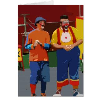 Dos payasos cartooned colores brillantes tarjeta pequeña