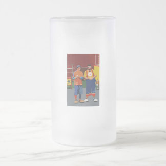 Dos payasos cartooned colores brillantes taza cristal mate