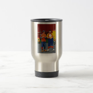Dos payasos cartooned colores brillantes taza de viaje