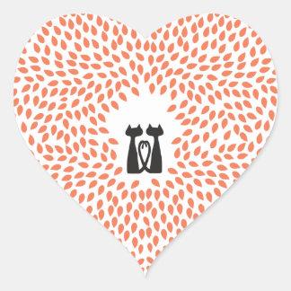 Dos pegatinas del corazón del boda de octubre de pegatina en forma de corazón