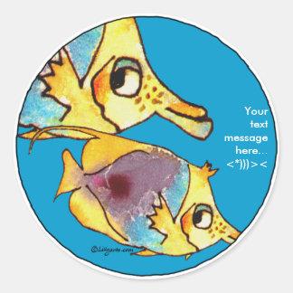 Dos pegatinas personalizados Butterflyfish azules Pegatina Redonda