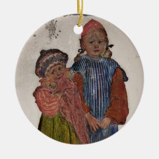 Dos pequeñas hermanas 1906 adorno navideño redondo de cerámica