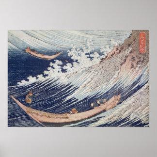 Dos pequeños barcos de pesca en el mar póster