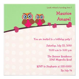 Dos pequeños búhos - la fiesta de cumpleaños invit anuncios personalizados