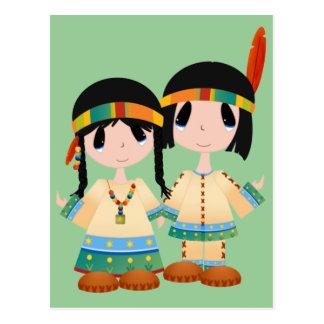 Dos pequeños indios postal