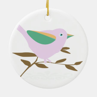 Dos pequeños pájaros adorno navideño redondo de cerámica