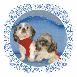 Dos pequeños perritos del rescate de Shih Tzu Fotoescultura Vertical