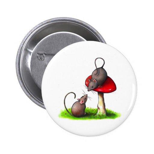 Dos pequeños ratones lindos y un Toadstool: Ilustr Pin