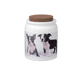 Dos perritos blancos y negros jarra para caramelo