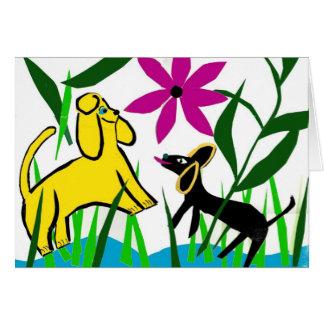 Dos perros amistosos tarjeta de felicitación