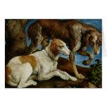 Dos perros de caza atados a un tocón de árbol, c.1 tarjeton