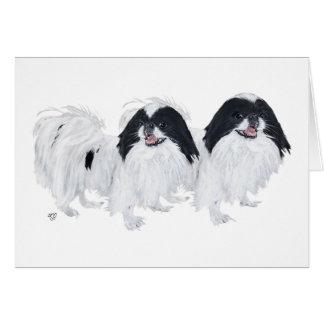 Dos perros de Chin del japonés Tarjeta De Felicitación