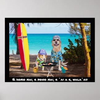 Dos perros de la persona que practica surf en la p póster