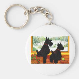 Dos perros de Scotty en el navidad Llavero Redondo Tipo Pin