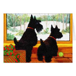 Dos perros de Scotty en el navidad Tarjeta De Felicitación