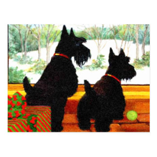 Dos perros de Scotty en el navidad Postales