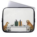 Dos perros que llevan el lazo y los vidrios, fundas computadoras