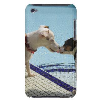 Dos perros que se besan en el poolside funda para iPod