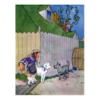 Dos perros se encuentran en callejón postal