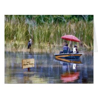 Dos pescadores en el lago tarjeta de felicitación grande