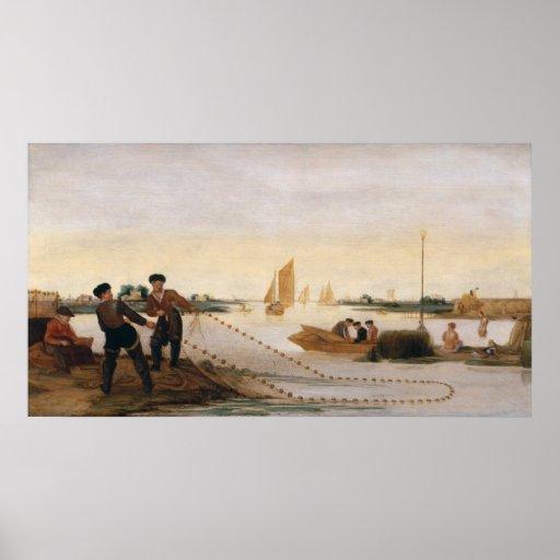 Dos pescadores que tiran en sus redes póster