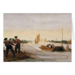 Dos pescadores que tiran en sus redes tarjeta de felicitación