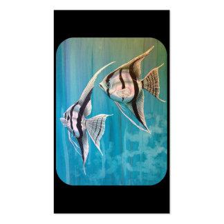 Dos pescados del ángel con de plata y negro y el a tarjetas personales