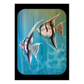 Dos pescados del ángel con de plata y negro y el a plantillas de tarjetas personales