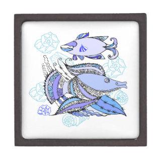 Dos pescados y conchas de berberecho caja de regalo de calidad