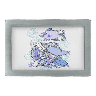 Dos pescados y conchas de berberecho hebillas de cinturón rectangulares