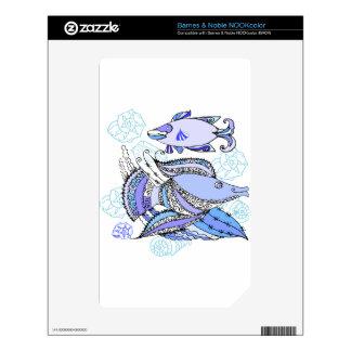 Dos pescados y conchas de berberecho calcomanía para el NOOK color