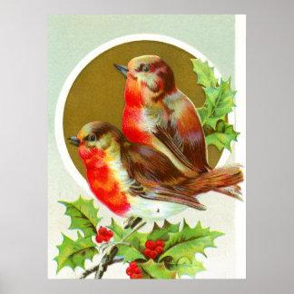 Dos petirrojos del navidad impresiones