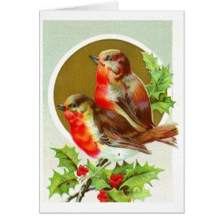 Dos petirrojos del navidad tarjeta de felicitación