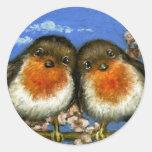 Dos petirrojos que cantan canciones de amor en flo pegatinas