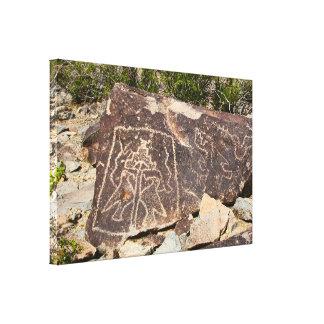 Dos petroglifos del pájaro impresión en tela