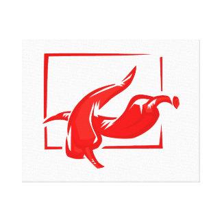 Dos pimientas rojas estilizadas del marco de w impresiones en lienzo estiradas