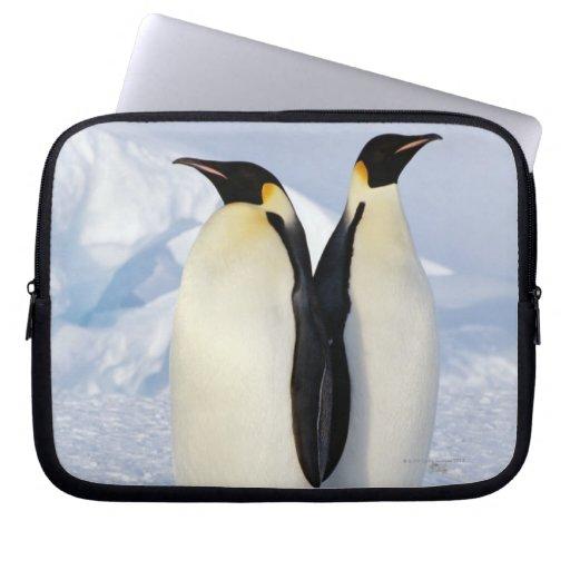 Dos pingüinos de emperador en la Antártida Mangas Portátiles