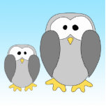 Dos pingüinos lindos. Dibujo animado en azul de ci Esculturas Fotograficas