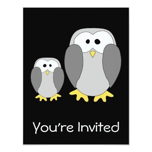 """Dos pingüinos lindos. Historieta Invitación 4.25"""" X 5.5"""""""