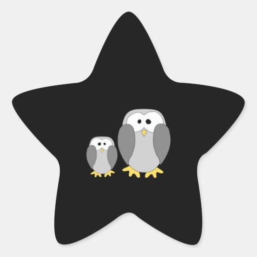 Dos pingüinos lindos. Historieta Calcomanías Forma De Estrella Personalizadas
